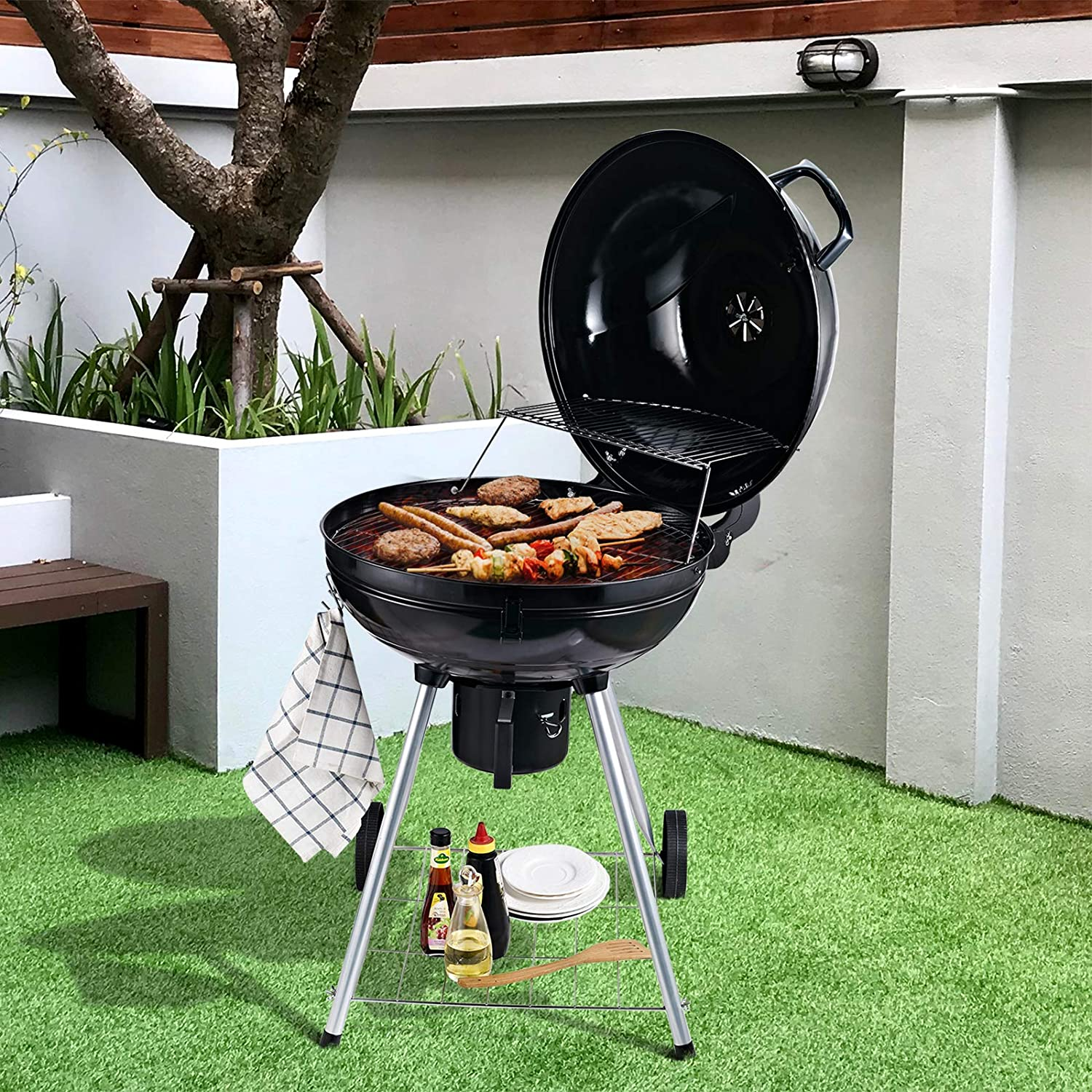 Outsunny Round Kettle Charcoal BBQ Grill Outdoor Garden Barbecue Picnic Family Party Patio Garden Camping Heat Control Portable w//Shelf and Wheels