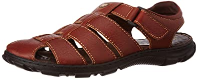 Hush Puppies Men s Simon Brown Leather Athletic and Outdoor Sandals - 7 UK  India ( 54270138ed