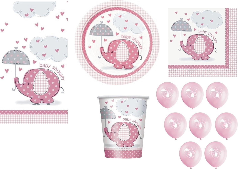 41654 Unique Party 18 Cm Paquet de 8 Assiettes en Carton Rose Baby Shower /Él/éphant