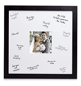 Pearhead Wedding Signature Guest Book Frame and Marker, Creative Wedding or Bridal Shower Guestbook Alternative, Black