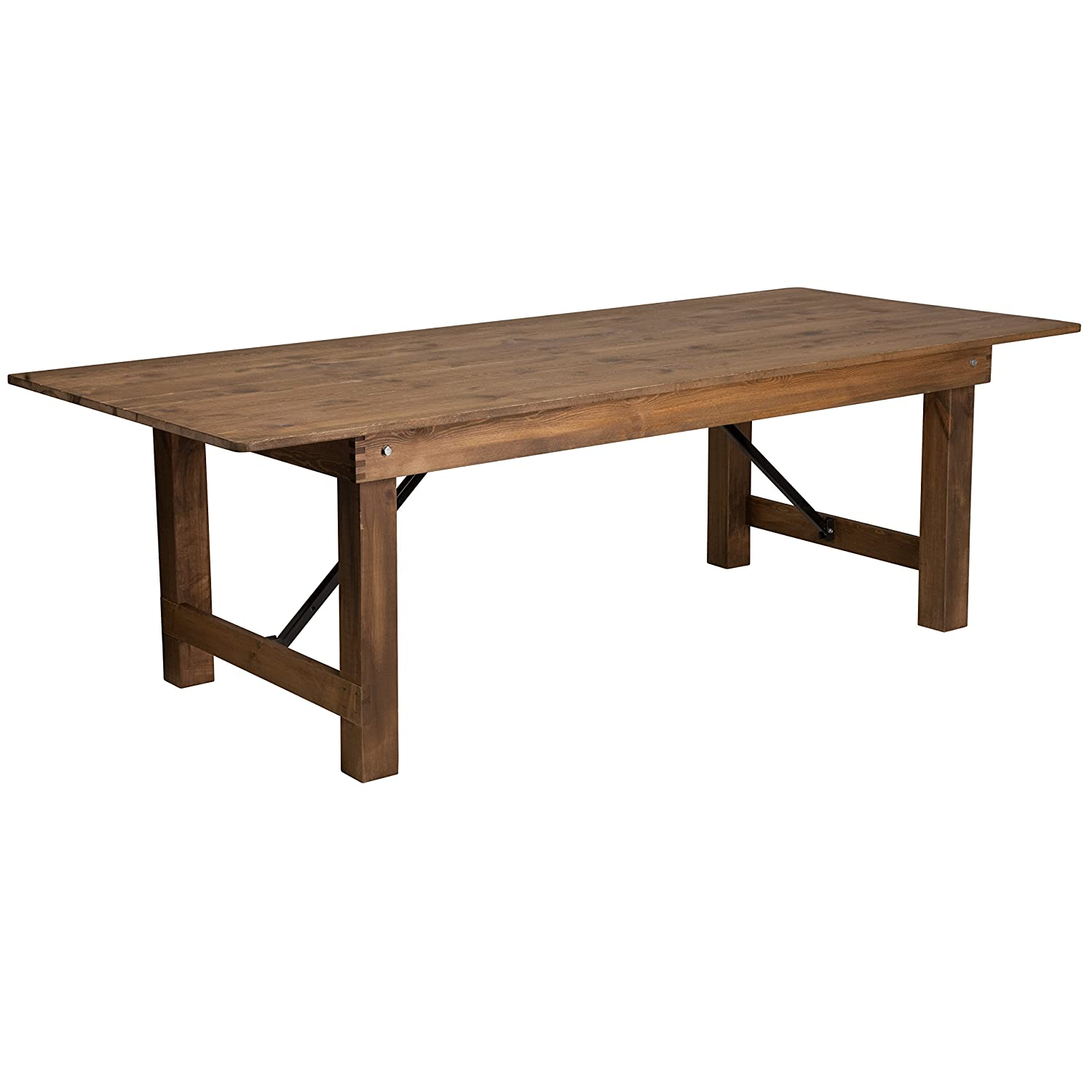 Flash Furniture HERCULES Series 8 x 40 Rectangular Antique Rustic Solid Pine Folding Farm Table