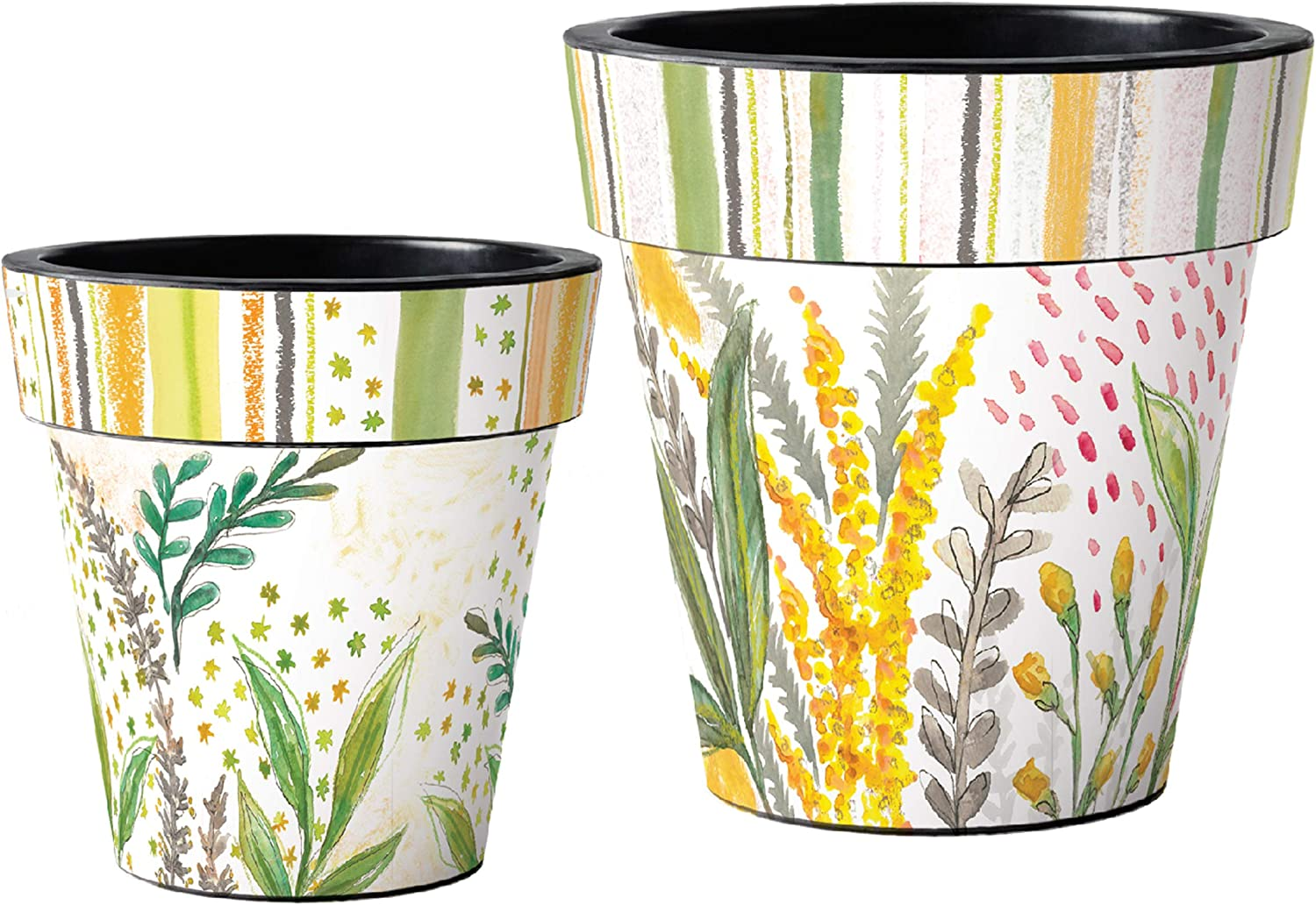 Studio M Fresh Flower Art Planters Spring Floral Decorative Pots, Fade-Resistant Container for Outdoors or Indoors - Set of 2, Printed in The USA, 12 and 15 Inch Diameter