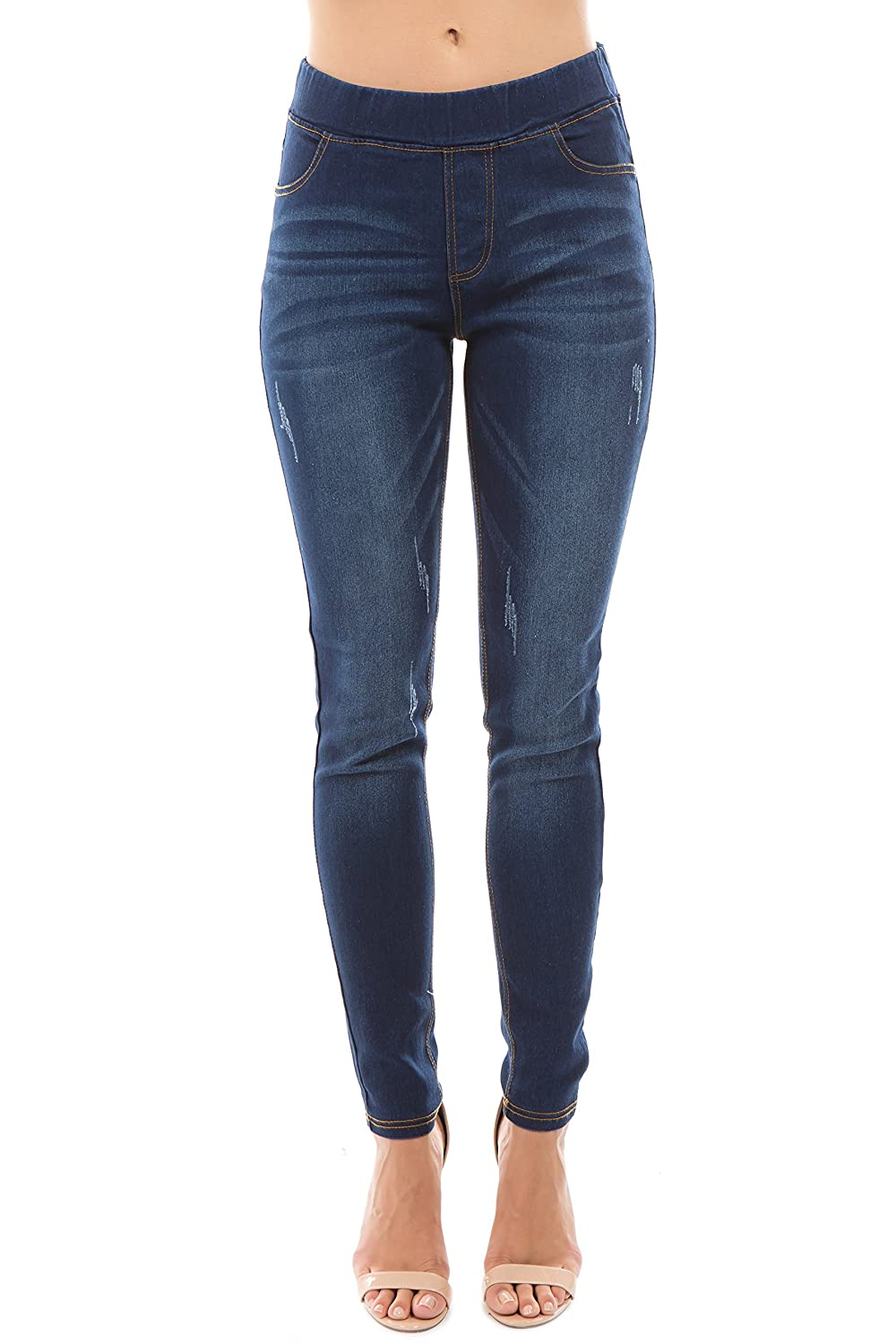 Dk bluee_dis4 Trinity Jeans Women's Distressed Ripped Cut Pull On Stretch Skinny Denim Jeggings