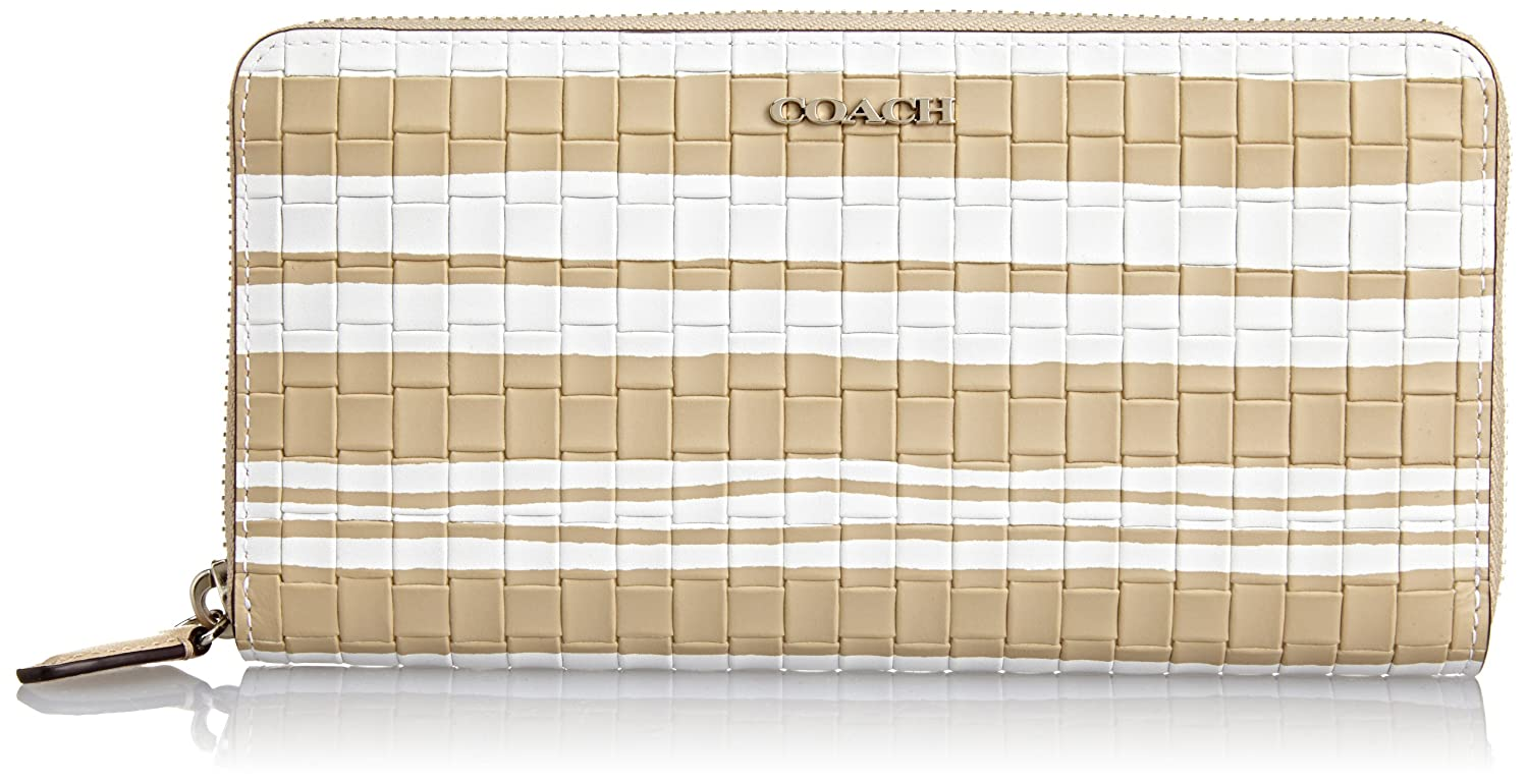 COACH Bleecker Embossed Woven Leather Accordion Zip Around 51620 Fawn/White