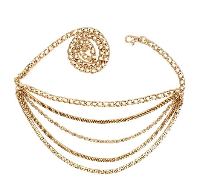 Amazon.com: Cinturón de cadena de 4 o 5 capas para mujer, de ...