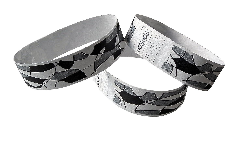 100pezzi di controllo Tyvek Braccialetti 19mm di larghezza x 255mm di lunghezza–in bianco e nero con stampa Abstract ID-ACC.
