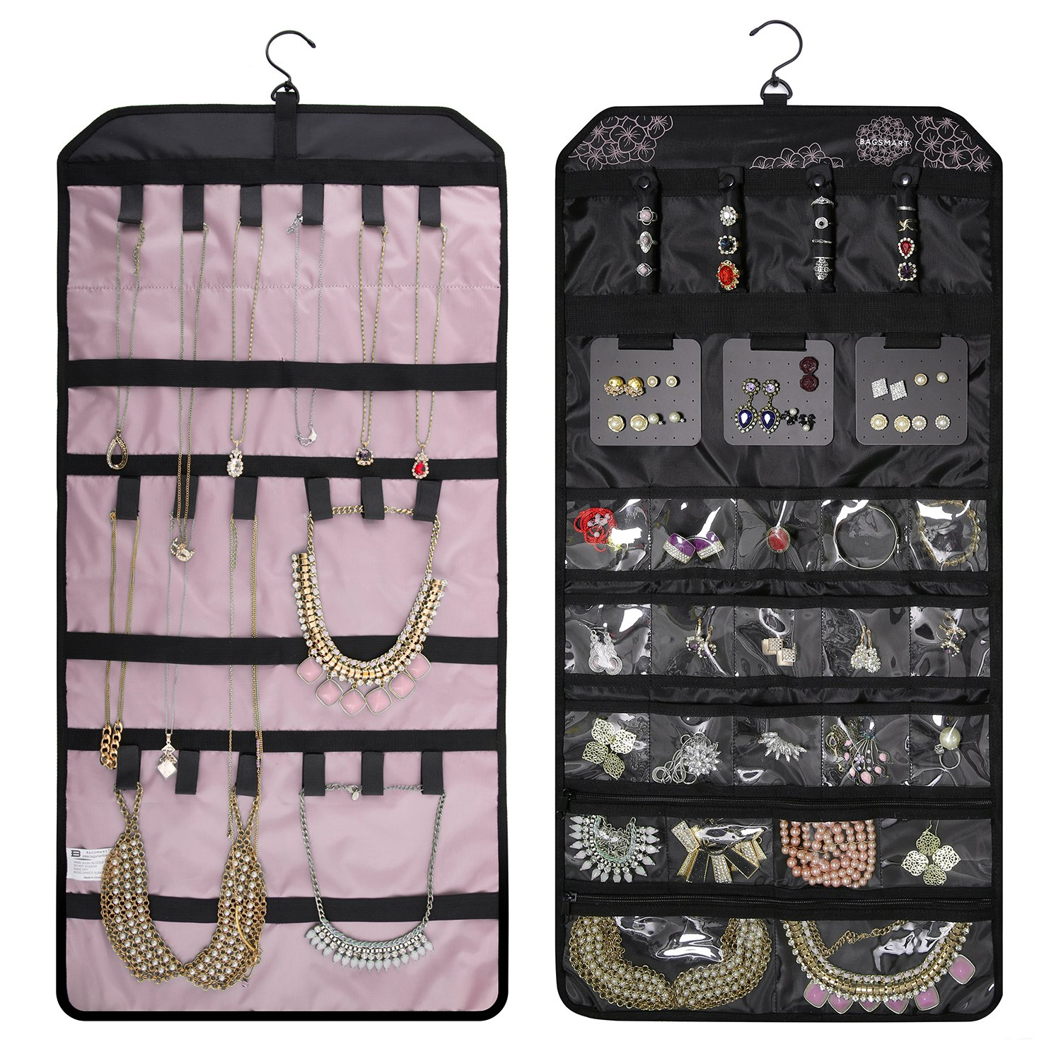 BAGSMART Double-sided Hanging Jewelry Organizer Roll up Bag for Earrings Rings Necklaces