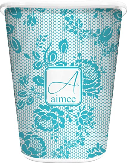 16a43149735 Amazon.com: RNK Shops Lace Waste Basket - Single Sided (White) (Personalized):  Home & Kitchen