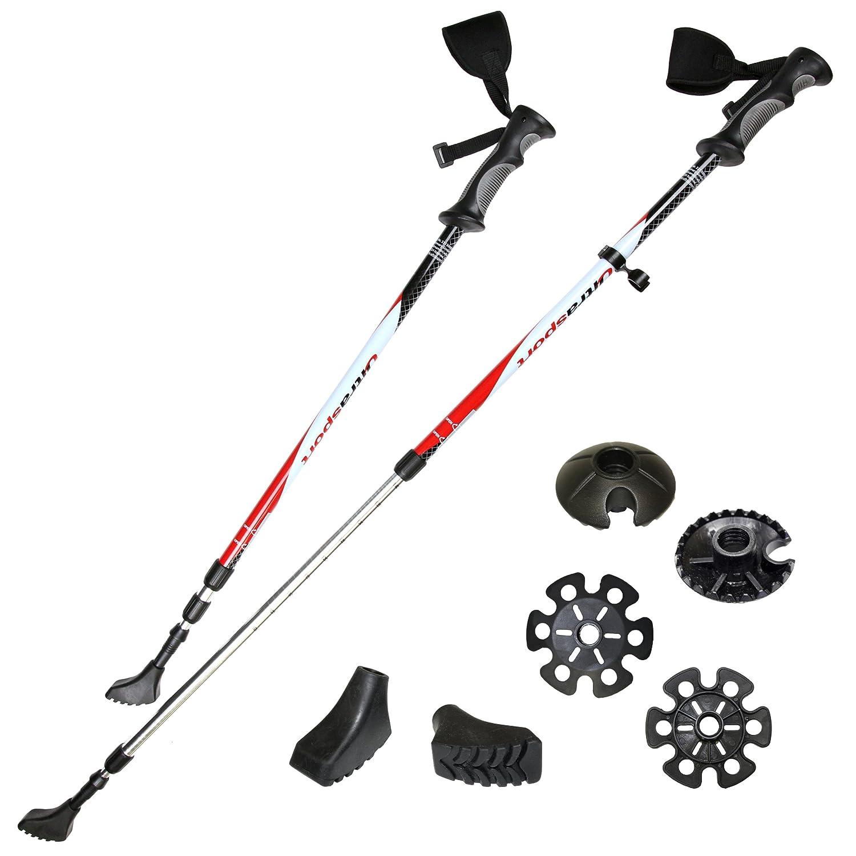 Ultrasport 3 en 1 - Bastón de Senderismo, Trekking y esquí para Todo el año, Longitud de 71 cm a 145 cm, con Cintas Reflectantes 3M, Color Amarillo