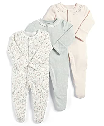 7885d1eea Mamas and Papas Baby Girls  3 Pack Floral Sleepsuits Footies