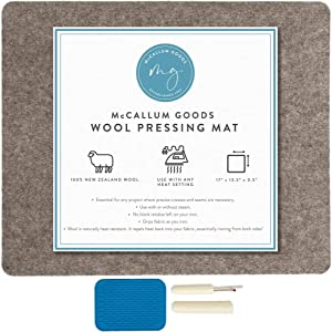 McCallum Goods Wool Pressing Mat - 17x13.5 inch New Zealand Wool Ironing Mat - Wool Pressing Mat for Quilting - Wool Mat for Your Quilting Supplies - Replace Your Ironing Board with This Ironing Pad