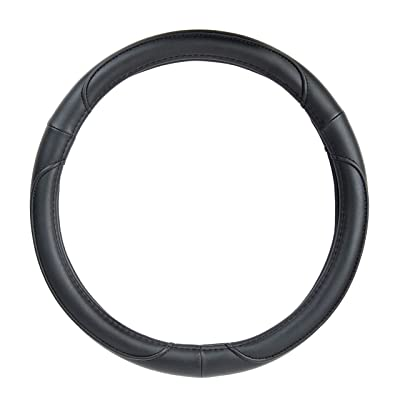 Basics Leatherette Steering Wheel Cover, 15″, Black: Automotive [5Bkhe1003408]