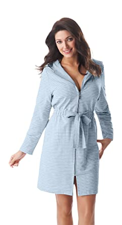 c72c968d96 Women Soft Zip Up Bathrobe Dressing Gown Hooded Housecoat at Amazon Women s  Clothing store
