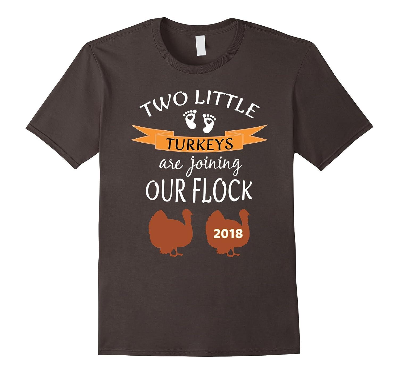 2018 Twins Cute Thanksgiving Pregnancy Announcement Shirt-FL