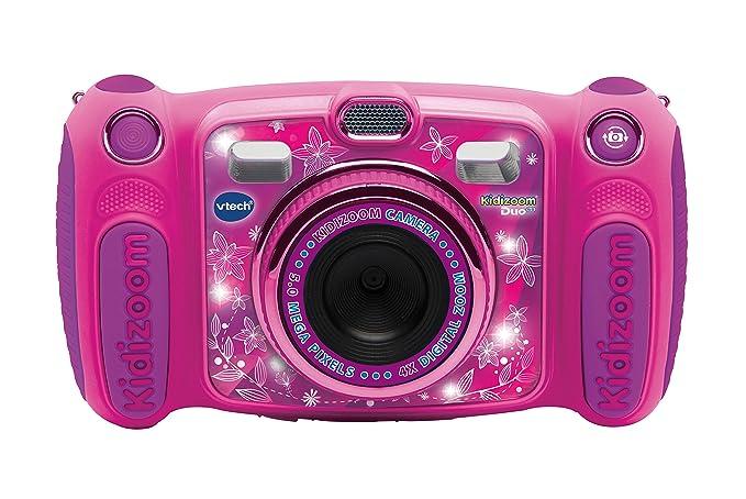 Vtech Kidizoom Duo 5.0 Digitale Kamera für Kinder, 5 MP, Farbdisplay, 2 Objektive, Pink Französische Version Rosa
