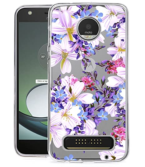 hot sale online e426f 47fd5 BAISRKE Moto Z2 Play Case, Moto Z2 Force Case with Flowers Slim Shockproof  Floral Pattern Soft Flexible TPU Back Cove for Moto Z2 Play / Z2 Force ...