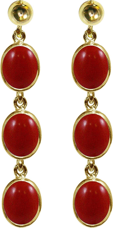 BJC® 9ct oro Amarillo Natural Coral rojo 9.00ct ovalado Triple Drop pendientes colgantes marca nuevo con caja de regalo