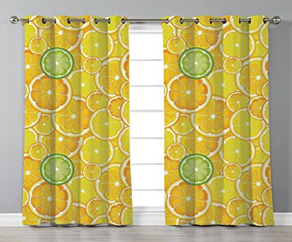 Amazon Com Iprint Stylish Window Curtains Yellow Decor Lemon Orange