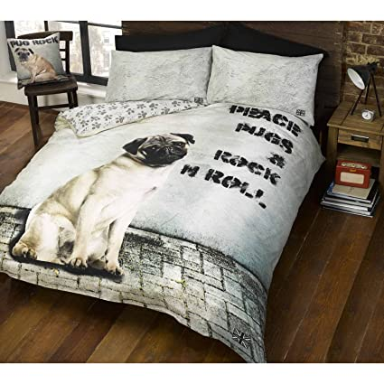 Amazoncom Peace Pugs Rock N Roll Double Duvet Cover Set Home