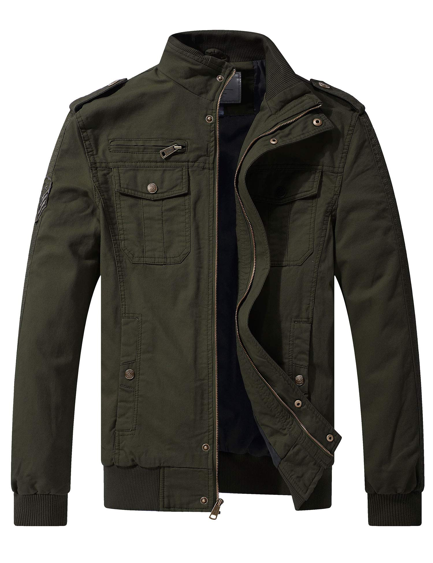 WenVen Men's Casual Cotton Military Jacket (Military Green, Medium) by WenVen
