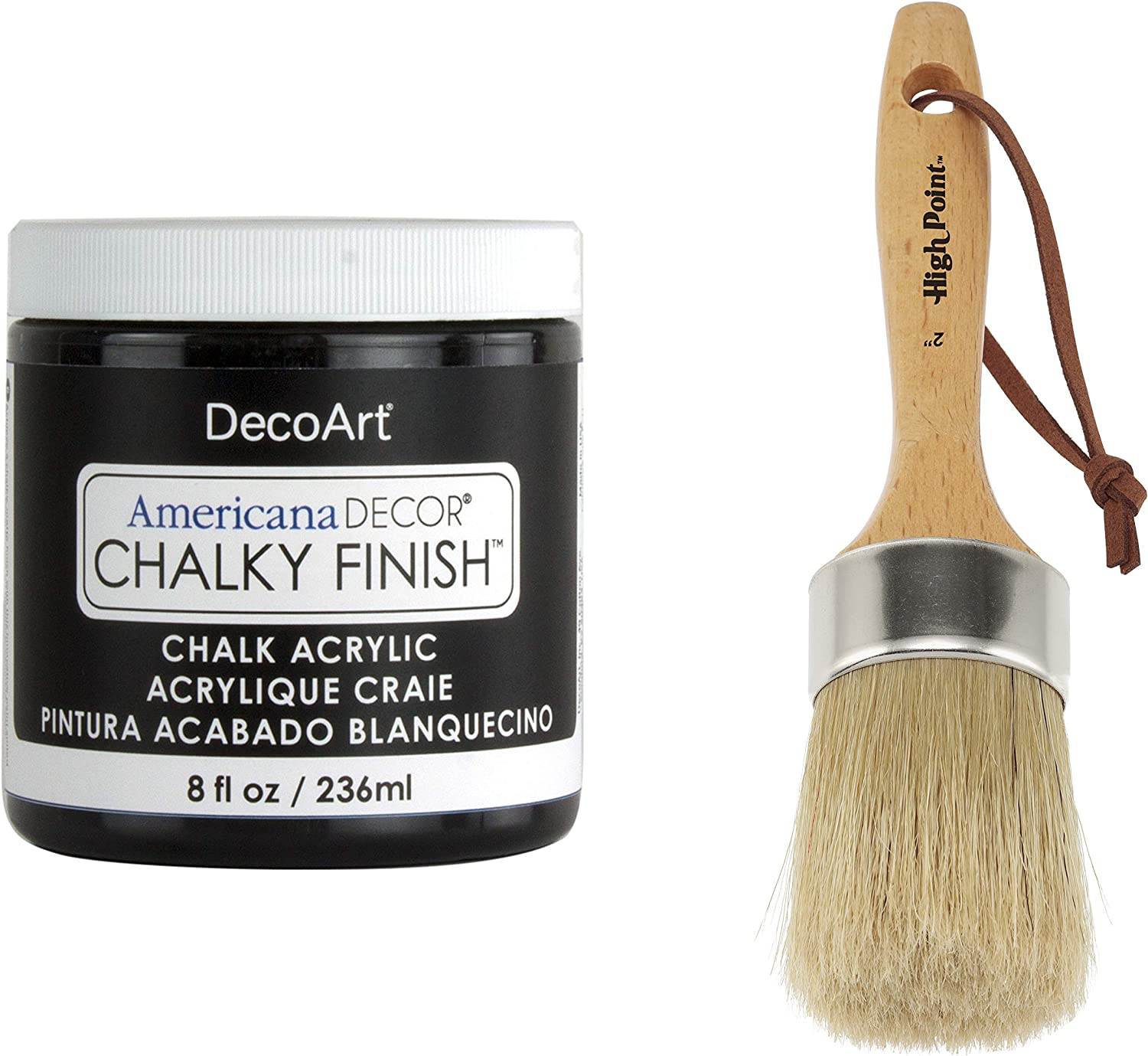 "DecoArt Americana Décor Chalky Flat Finish Paint and 2"" Chalk Wax Finishing Paint Brush Set - 8oz - Carbon"