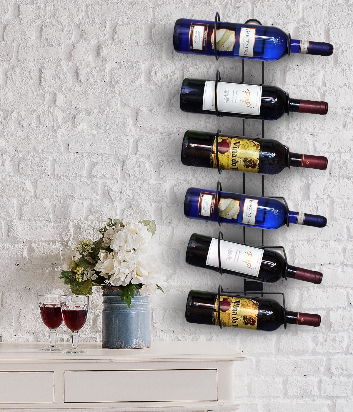 Sorbus Wall Mount Wine Rack Holds 6 Bottles of Wine or Champagne