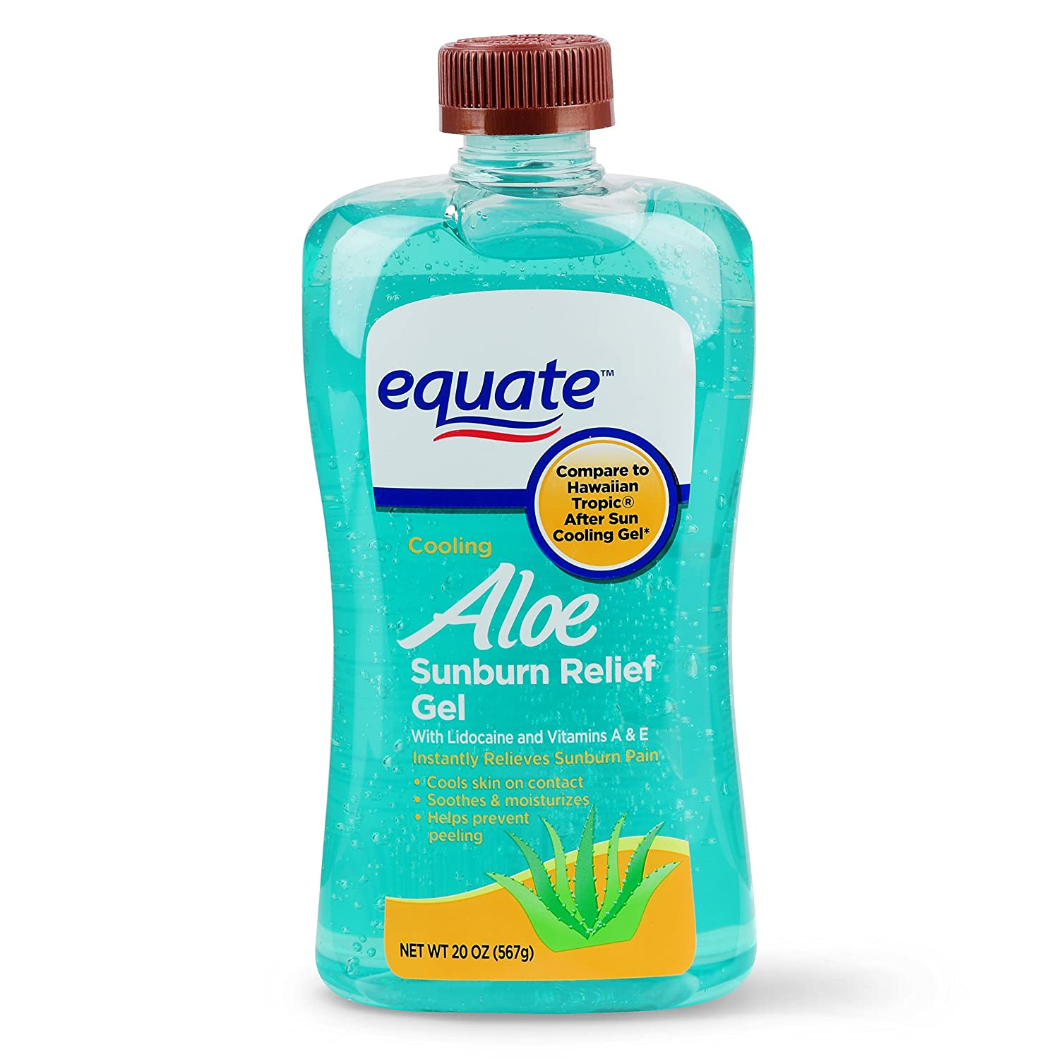 Equate (Compare to Hawaiian) tropic After Sun Cooling Gel Aloe, Lidocaine, and Vitamins A & E 20 Oz