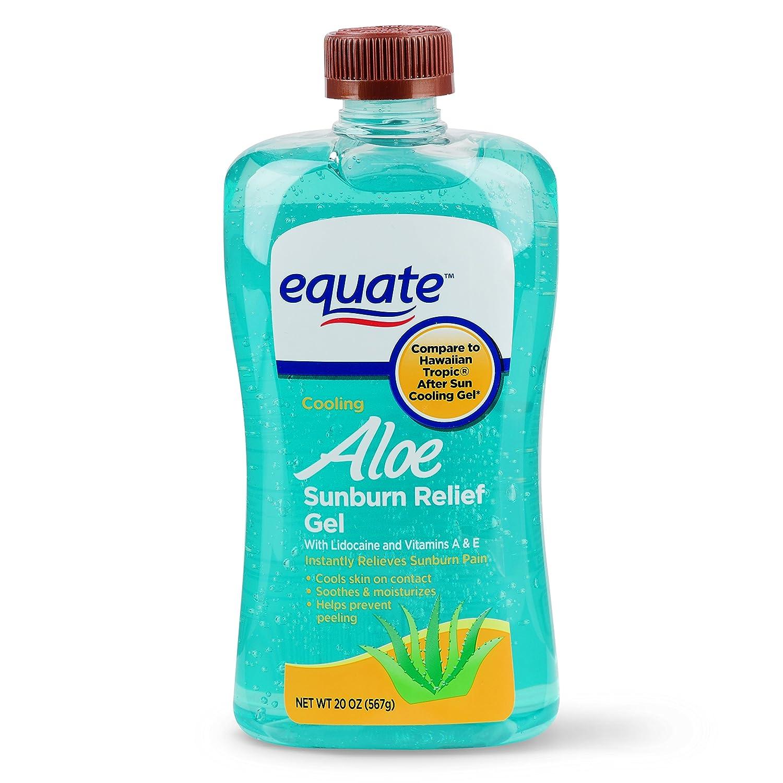Equate (Compare to Hawaiian) tropic After Sun Cooling Gel Aloe, Lidocaine, and Vitamins A & E 20 Oz