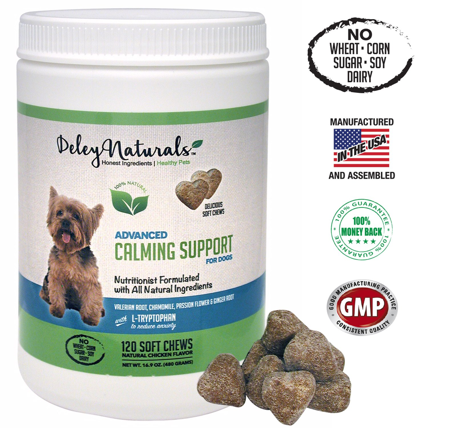 Deley Naturals Dog Anxiety Support 120 Chicken Soft Chews Valerian Root and L