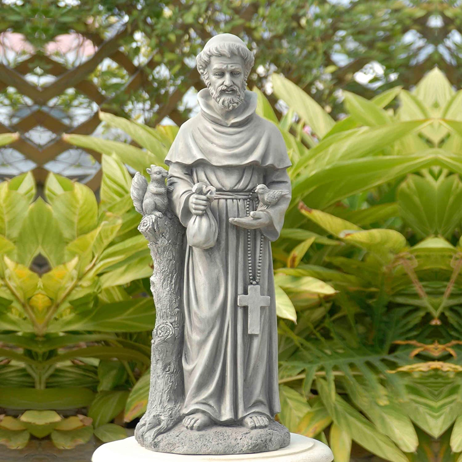 MISC St Francis Garden Statue 31 Inch, Saint Francis Statue for Outdoor All Seasons Patio Sculpture Magnesium Oxide Stone Finish Grey Color
