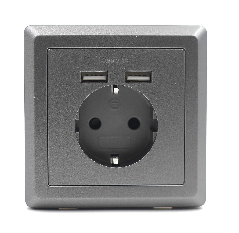 Jindia 2.4A Schuko Enchufe para la pared con 2 puertos de carga USB, toma USB Sockets de pared blancos