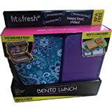 Bento Lunch Expandable Bag and Plastic Container - Purple & Teal Flower Design