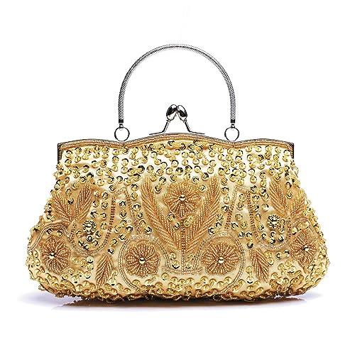 334daba66d Borsa da sera a fiori per donna Pochette retrò con perline Pochette Borsa  da sposa Borsa a tracolla con foglia di paillettes: Amazon.it: Scarpe e  borse
