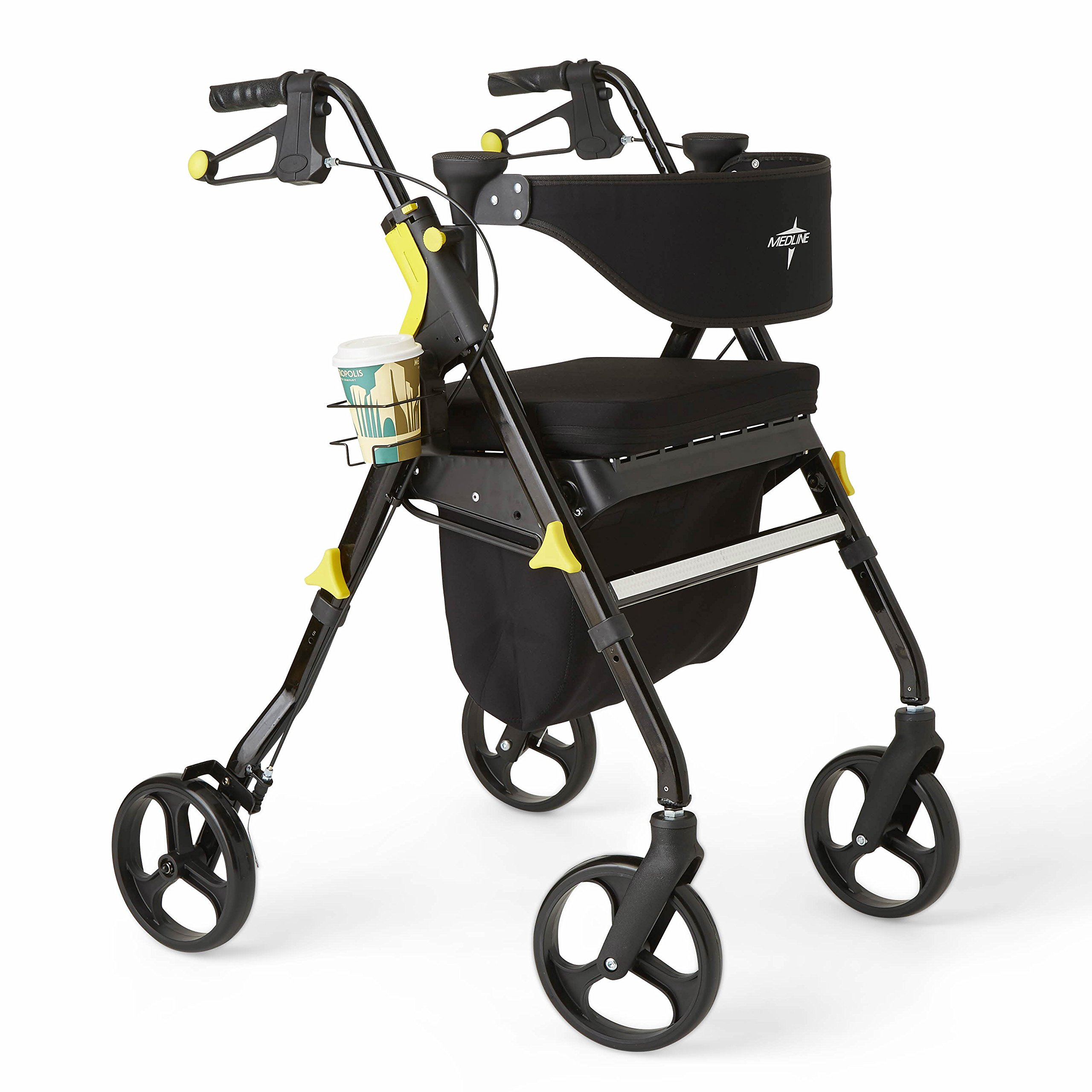 Medline Premium Empower Rollator Walker with Seat, Folding Rolling Walker with 8-inch Wheels, Black by Medline