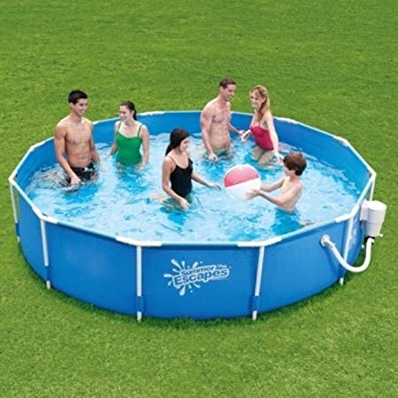 Summer Escapes 12 x 30 Round Metal Frame Above Ground Swimming Pool with Skimmer Plus Filter Pump System