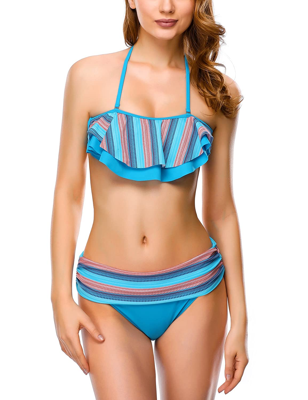 e027941b12 Top1: Dafunna Women Bikini Sets Vintage Style High Waisted Halter Padded 2 Pieces  Swimsuits with Rainbow Stripe Ruffles