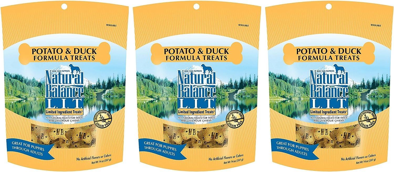 Natural Balance Limited Ingredient Dog Treats Potato & Duck Formula, 14 oz, 3 Pack