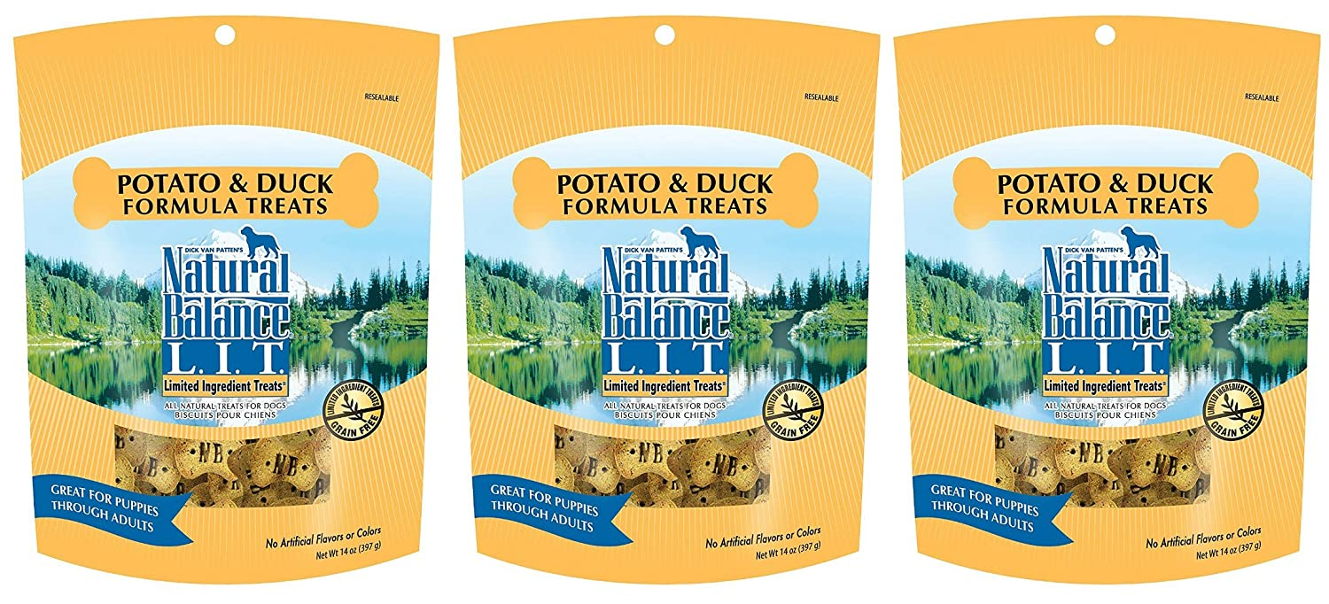 Natural Balance Limited Ingredient Dog Treats Potato Duck Formula, 14 oz, 3 Pack