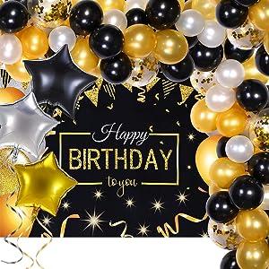 Birthday Party Supplies Balloon Arch Garland Kit White Black Gold Confetti Balloon with Happy Birthday Party Backdrop Glitter Birthday Banner for Men Women 20th 30th 40th 50th 60th 70th Birthday Decor