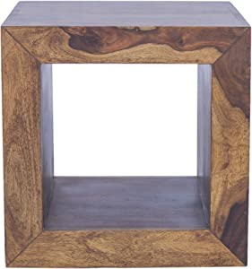 The Urban Port Cube Shape Rosewood Side Table with Cutout Bottom, Brown