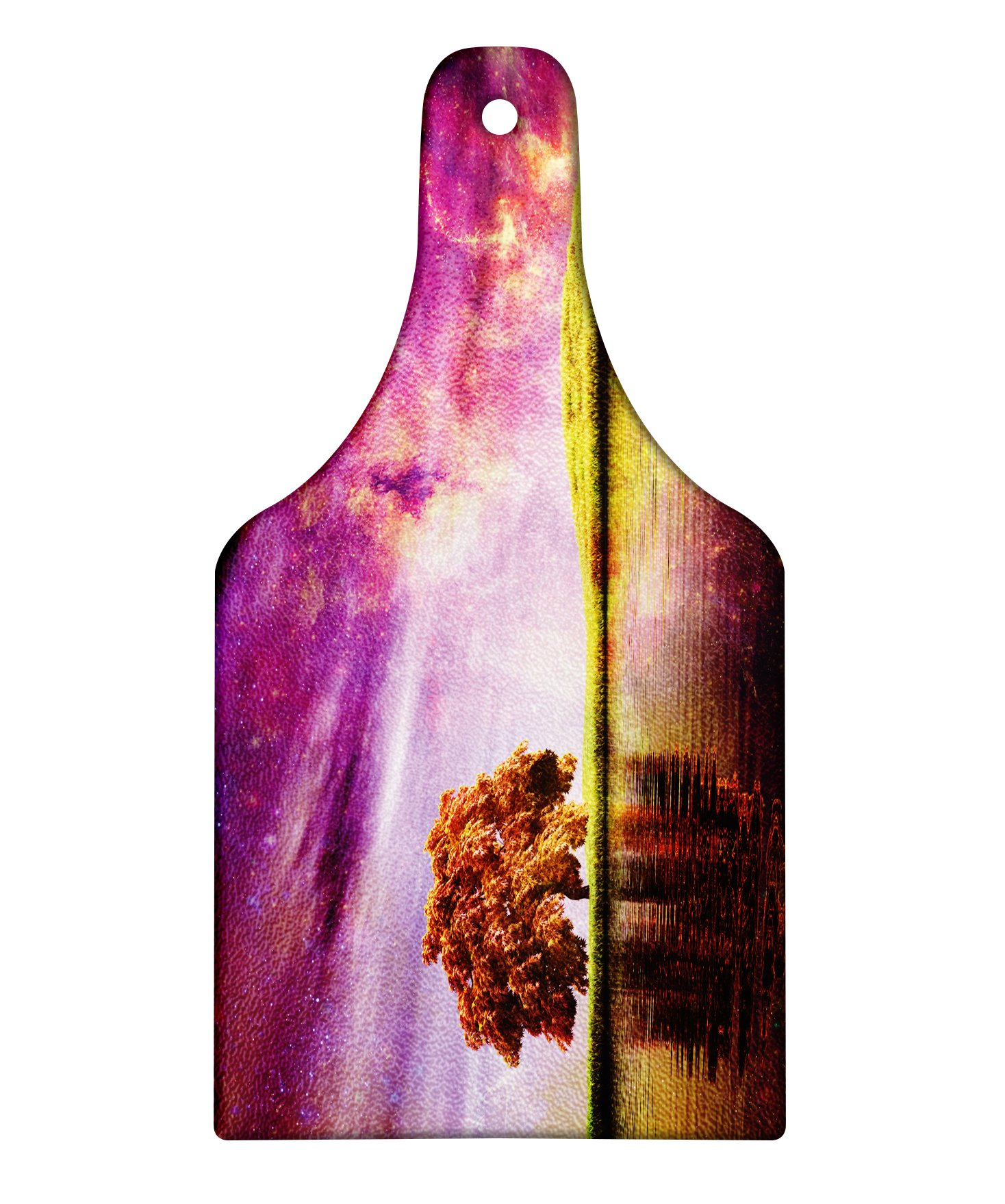 Lunarable Magical Cutting Board, Supernatural Sky Scenery with Mystical Northern Solar Theme and Star Clusters Photo, Decorative Tempered Glass Cutting and Serving Board, Wine Bottle Shape, Purple