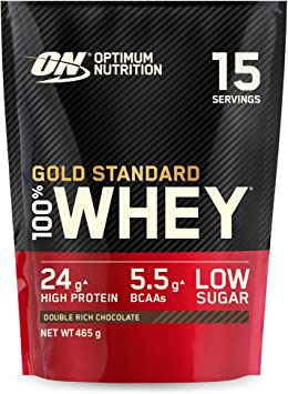 Optimum Nutrition Gold Standard 100% Whey Proteína en Polvo, Glutamina y Aminoácidos Naturales, BCAA, Double Rich Chocolate, 15 Porciones, 465g, ...