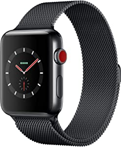 Apple Watch Series 3 (GPS + Cellular, 42MM) - Space Black Stainless Steel Case with Black Milanese Loop Band (Renewed)