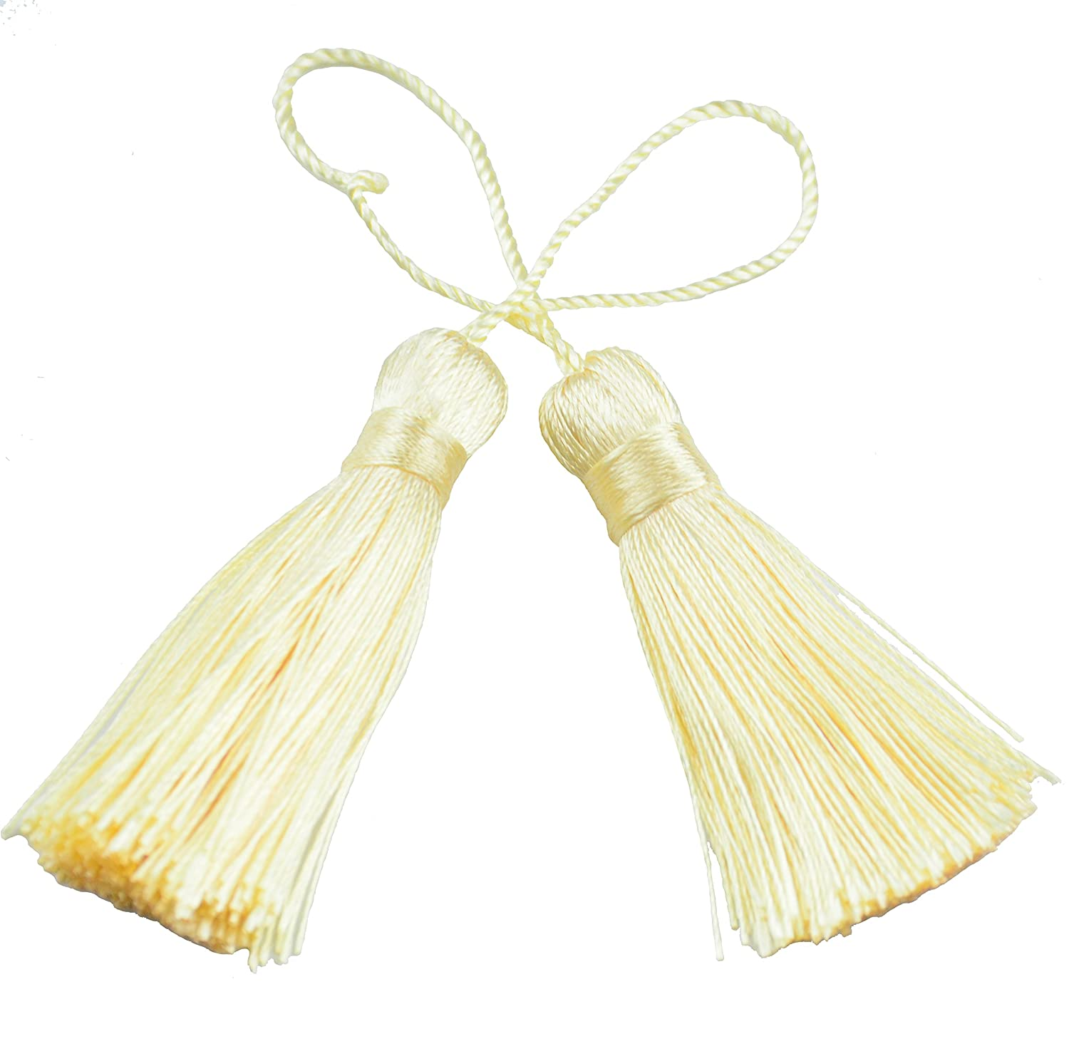 Makhry 20pcs 4.3 Inch Handmade Silky Floss Mini Tiny Craft Tassels with 2-Inch Cord Loop and Small Chinese Knot for Earrings, Souvenir, Bookmarks, DIY Craft Accessory,Tags (Red) MKMF20#3