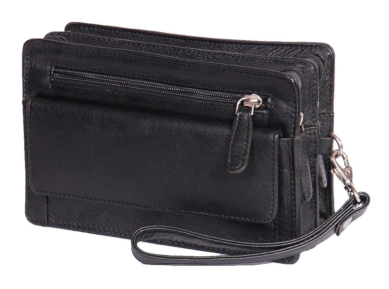 Homme poignet Real Sac en cuir d'embrayage Voyage Noir Cab Mobile Money Organisateur Man Bag A210