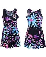 Neon Purple Pink & Blue Weed Marijuana Leaf Print Mini Dress Quality Spandex