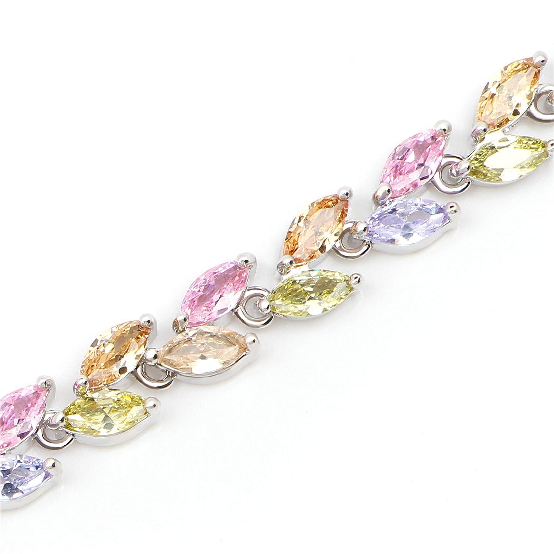 Me/&Hz Crystal Tennis Bracelet Cubic Zirconia Birthstone Cz Bracelets Crystal Wedding Jewelry Bracelets for Women Girls