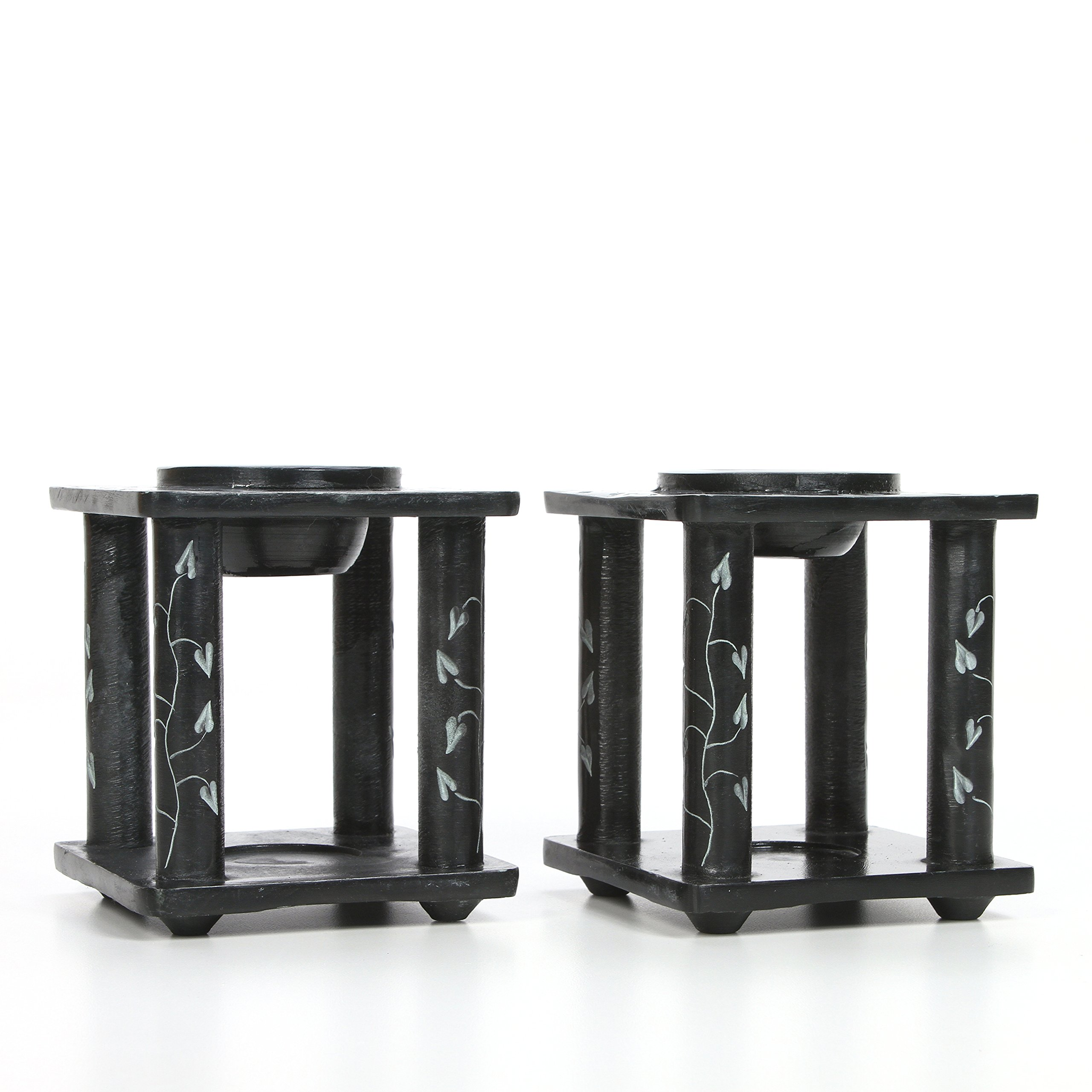 Hosley Set of 2 Black Soapstone Oil Burner- 4'' High. Ideal for Spa and Aromatherapy. Use with Brand Wax Melts/Cubes, Essential Oils and Fragrance Oils. O5