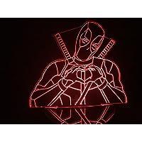 Luminária Led 3d Deadpool Marvel Coração Acrílico Abajur