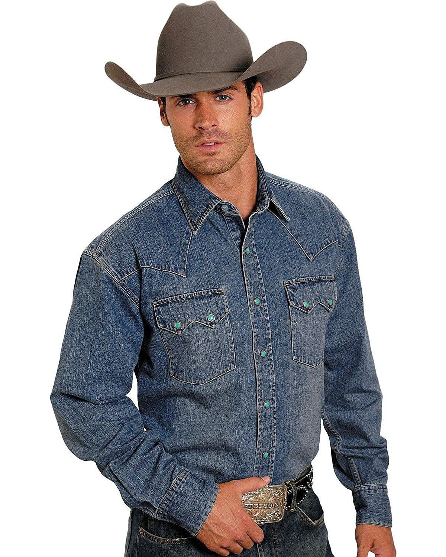 7618fb02 Stetson Men's Denim Snap Western Shirt